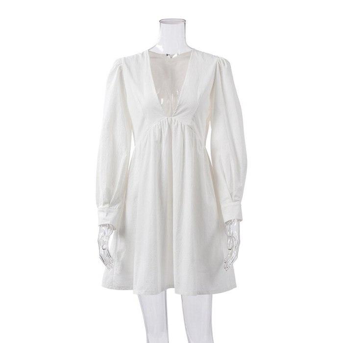 Solid White Hollow Out Dress Sexy Deep V Neck Cotton Summer A Line Mid Dresses Vintage Long Puff Sleeve Beach High Waist Dress