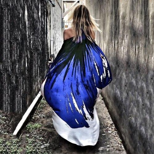 Sexy Butterfly Print Dress Women Bohemia Style Off Shoulder Loose Long Dresses Beach Long Sleeve Inregular Dress Plus Size