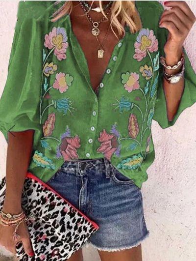 Summer New Irregular Printing Short-Sleeved Women's Shirt Polyester Temperament Loose Ladies Street Hipster Chiffon Blouse Tops