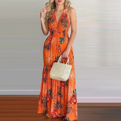 Women Backless Maxi Dress Tropical Print Halter Long Dress Sexy Sleeveless Ruffle Dress Beach Summer Dress Vestido De Mujer