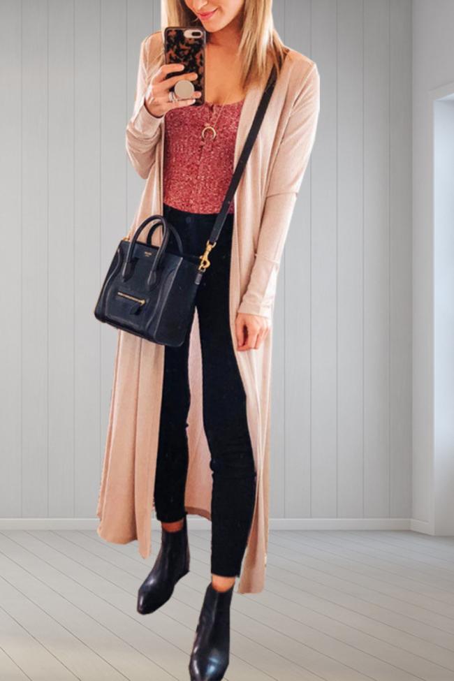 Women's Elegant Vintage Fashion Open Stitch Long Sleeve Solid Casual knit Blazer Cardigan FC399