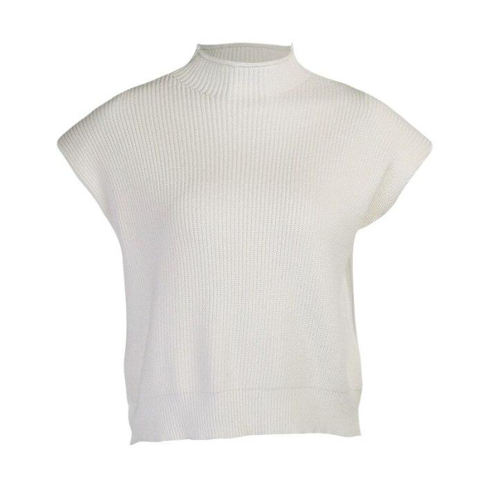Turtleneck Sleeveless Vest Sweater Women Autumn Winter Shoulder Pads Knitted Pullover Sweater Autumn Winter Jumper Casual Tops