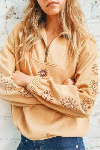 Chic Sun Graphics Vintage Zip Up POLO Collar Sweatshirt Women Loose Casual Streetwear Girls Winter Tops