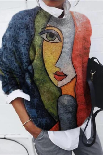 Vintage Loose Abstract Face Print Oversized Crewneck Sweatshirt Women Casual Long Sleeve Thin Tops Spring Autumn 2021 Plus Size