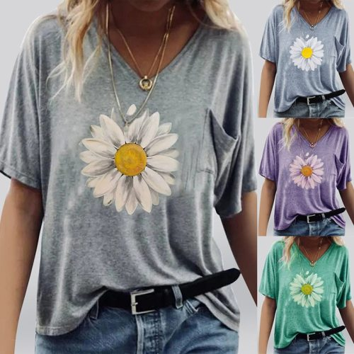 Women's Summer  Short Sleeved Round NeckPrinted Casual Loose Plus Size Ladies T Shirt  Fashion Tops S-5XL