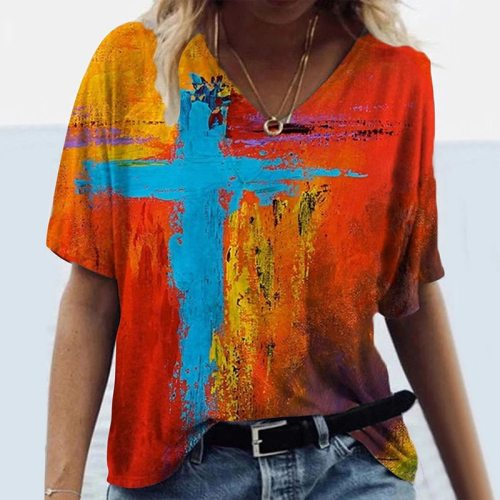 Fashion Woman Summer Plus Size Casual Loose Short Sleeve T Shirts Cross Printed V-Neck Tops S-5XL