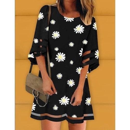 Summer Dress Women Daisy Print Mesh Stitching Round Neck Half Sleeve Mini Dress Lugentolo