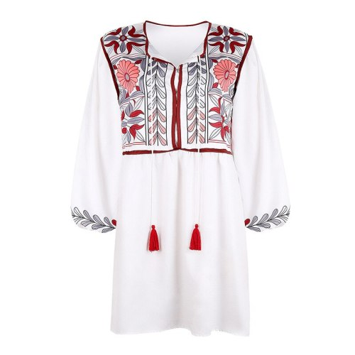 2021 Autumn New Popular National Style Retro Women's Loose Printed Long-Sleeved Dress african lace dresses for women in clothing