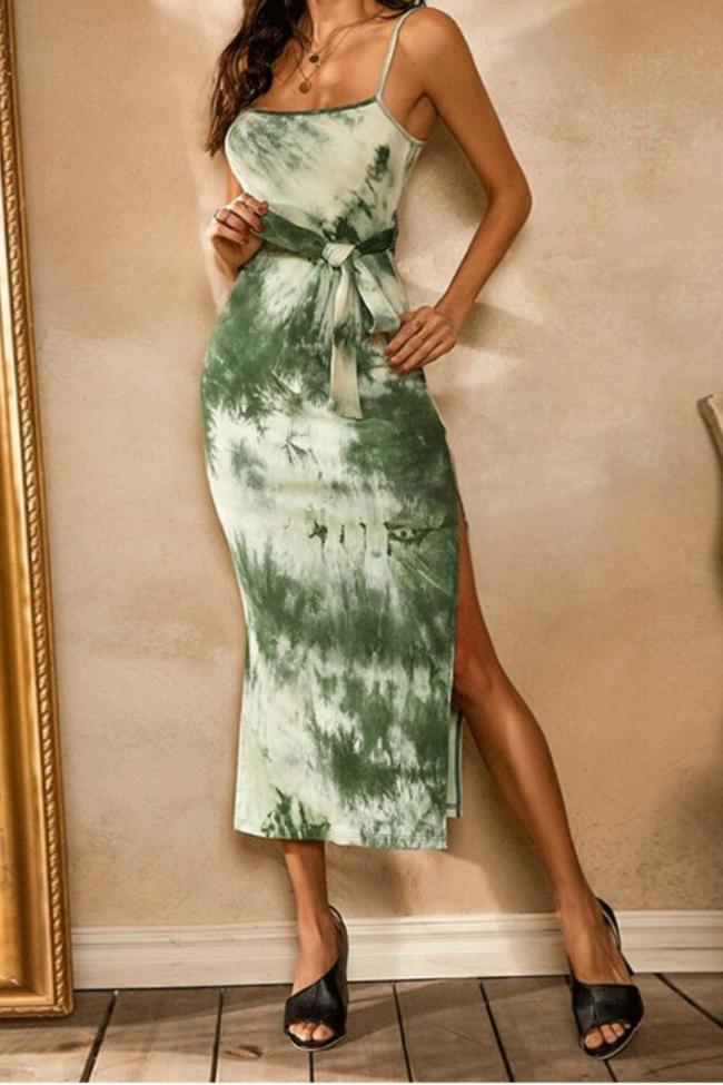 2021 Summer Tie Dye Women's Sleeveless Green Dresses Lace Up Split Bohemian Sexy Sling Dress Trendy Female Long Dresses