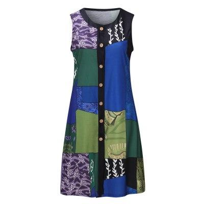 Stitching Printed Dress Women Sleeveless O-neck Button Tank Dress Vintage Casual Dresses For Women 2021 Vestido De Mujer