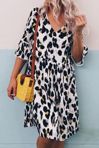 Womens Plus Size Summer Dress V-Neck Leopard Print Middle Sleeve Party Dresses Summer Beach Dress 2021 vestidos de verano NEW