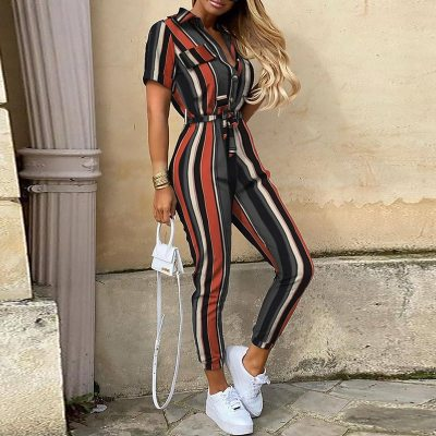 Women Letter Striped Leopard Tshirts Jumpsuit Summer Casual V Deep Neck One Piece Rompers Belt Bodysuit 2020 Fashion Clothing