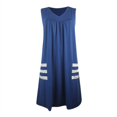 Casual Striped Tank Dress Women Sleeveless Pullover Dress With Pockets Casual Dresses For Women 2021 Loose Summer Dress