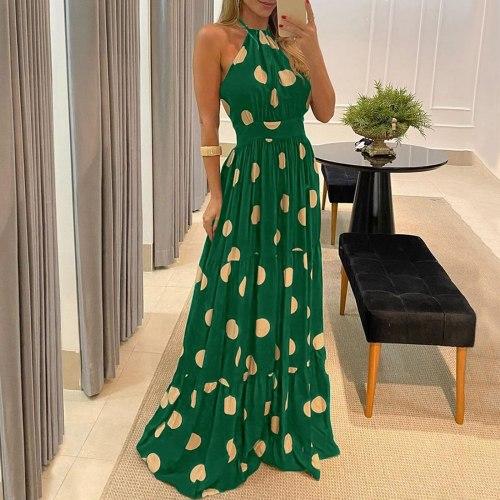 Women Polka Dot Print Maxi Dress Halter Backless Long Dress Sexy Sleeveless Ruffle Beach Dress Bohemia Loose Woman Dress