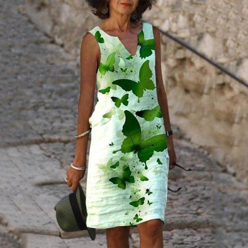 Vintage Butterfly Printed Dress Women Bohemia Casual Tank Dress V-neck Sleeveless Summer Dress Vestido De Mujer