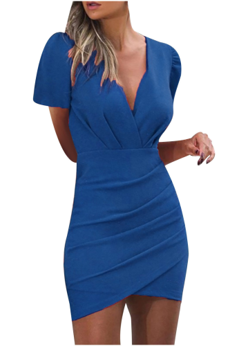 Solid Bodycon Dress Women Pocket Summer Dress V-neck Short Sleeve Dress Sexy Wrap Hip Dresses Vestido De Mujer O-neck