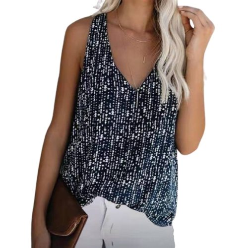Loose V-Neck Sleeveless Sexy Tank Tshirt Women Summer Tops 2021 New Printed Casual Beach Vest T shirt Plus Size Female Tees Tops