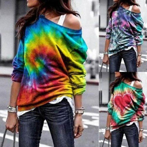 woman tshirts Tie-dye Printing Fashion Women Casual Long Sleeves Blusas Tops Autumn Lady shirts Harajuku mujer camiseta harajuku