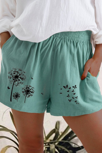 Fashion Shorts Women Plus Size Loose Elastic Waist Summer 2021 Dandelion Print Casual Shorts Cotton Linen Women Shorts Mujer