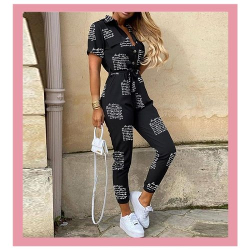 Women Letter Striped Leopard Tshirts Jumpsuit Summer Casual V Deep Neck One Piece Rompers Belt Bodysuit 2020 Fashion Clothing