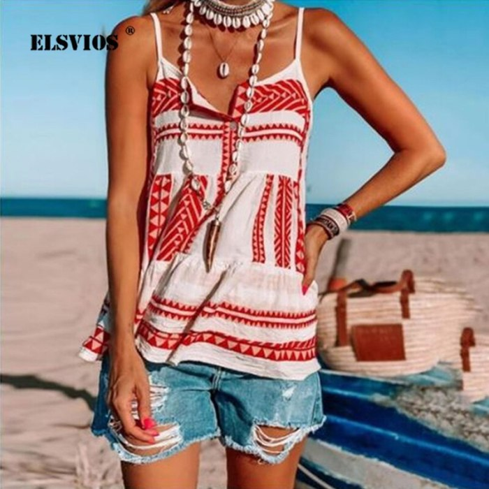 Plus Size Women Summer Casual beach vest Sexy V-neck Spaghetti Strap Backless Top Ladies Chiffon Loose striped Printed Vest Tops