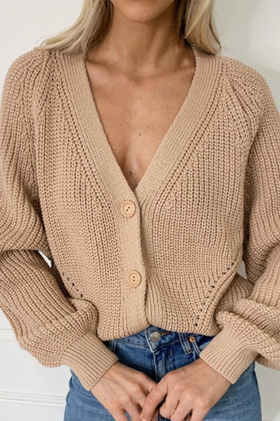 Women Deep V Neck Long Puff Sleeve Buttons Sweater Loose Jumper Pullover Loose Soft Warm Pull Femme Knitwear Coat New