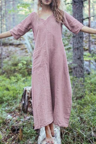 Women Summer Style Feminino Vestido Cotton Casual Plus Size Ladies Maxi Dress New Maxi Floral Dress Long Sleees Pockets_3.6