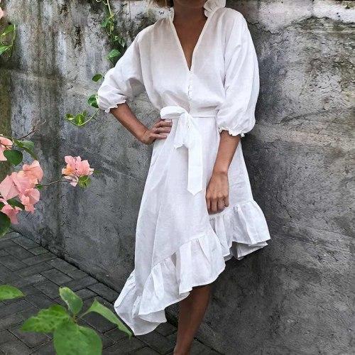 2021 Summer White Vintage Cotton Dress V Neck Buttons Slim Waist Elegant Half Sleeve Irregular Ruffles Pleating Midi Dress