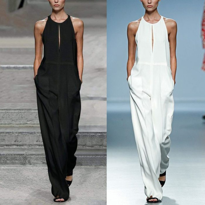 Elegant Sexy Jumpsuits Women Sleeveless Solid Trousers Wide Leg Pants Rompers Holiday Overalls 2019 Summer Casual Jumpsuits FA