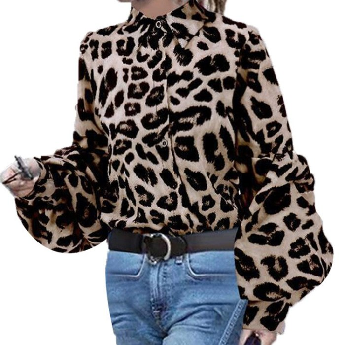 Women's Spring And Autumn Loose And Thin Shirt Leopard Print Long Sleeve Office Work Blouse Shirts