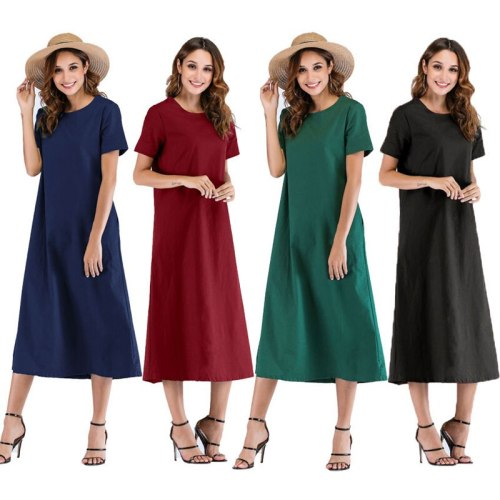 Black S-5XL plus size dress women 2019 summer new European and American round neck pink wine red loose thin fashion dress JD204