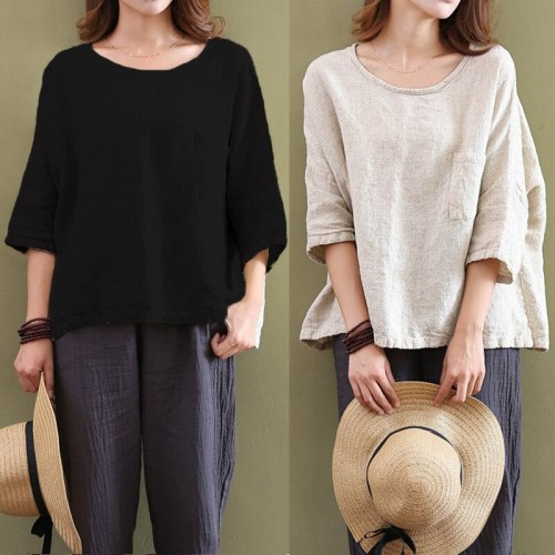 Women's casual cotton loose round neck seven-point sleeve solid color T-shirt top