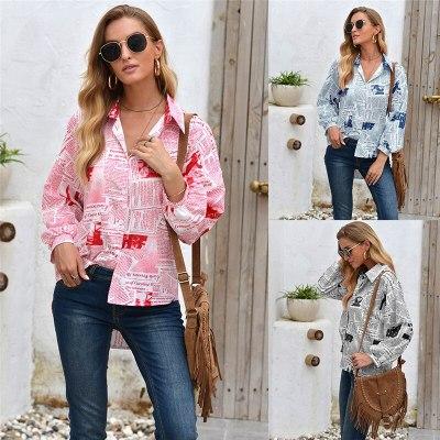 Fashion 2020 Print Women Shirts Casual Long Sleeves Single Breasted Loose Shirt Plus Size