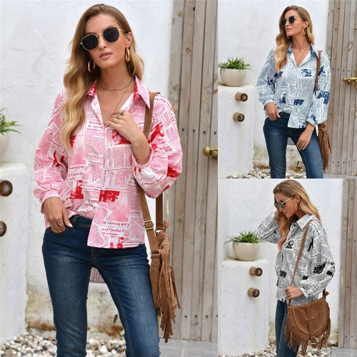 Fashion 2020 Print Women Shirts Casual Long Sleeves Single Breasted Loose Shirt Plus Size