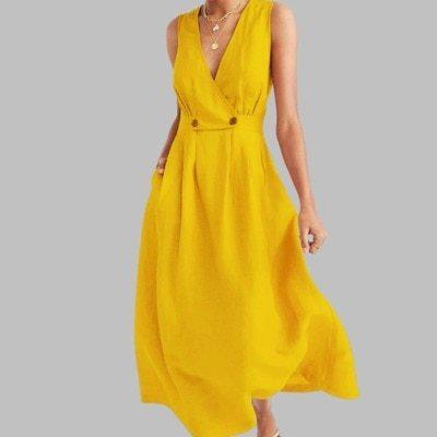 Plus Size Women Vintage Cotton Maxi Dress 2020 Summer New Sexy V Neck Sleeveless Long Dress White Button Loose Party Vestidos