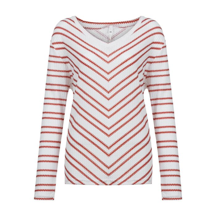 Fashion Striped Knitted Blouse Shirt Loose V-Neck Tops Casual Autumn Winter Top Ladies Female Women Long Sleeve Blusas Pullover