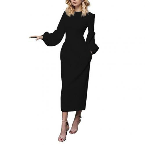 Elegant Women Solid Color O Neck Long Puff Sleeve Waist Tight Party Midi Dress Suitable for evening party banquet night club