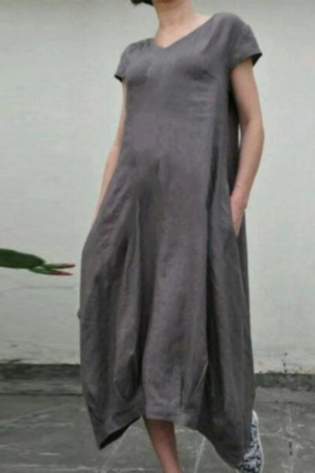 Vintage Solid Color Women summer long dress Short Sleeve V neck cotton and linen Loose Dress Plus Size 5XL