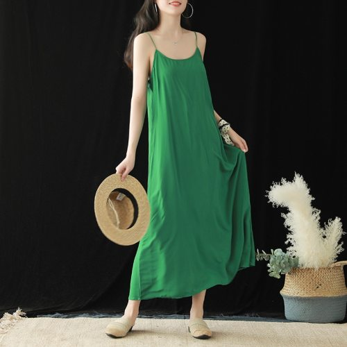 Women Sleeveless Dresses Solid Color Casual Cotton Summer Loose Clothing 2020 New Spaghetti Strap Soft Female Dresses