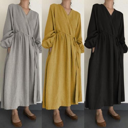 Women's Lantern Sleeve Sundress kalenmos Autumn Kaftan Linen Maxi Dress Casual Long Vestidos Female V Neck Robe Belted Plus Size