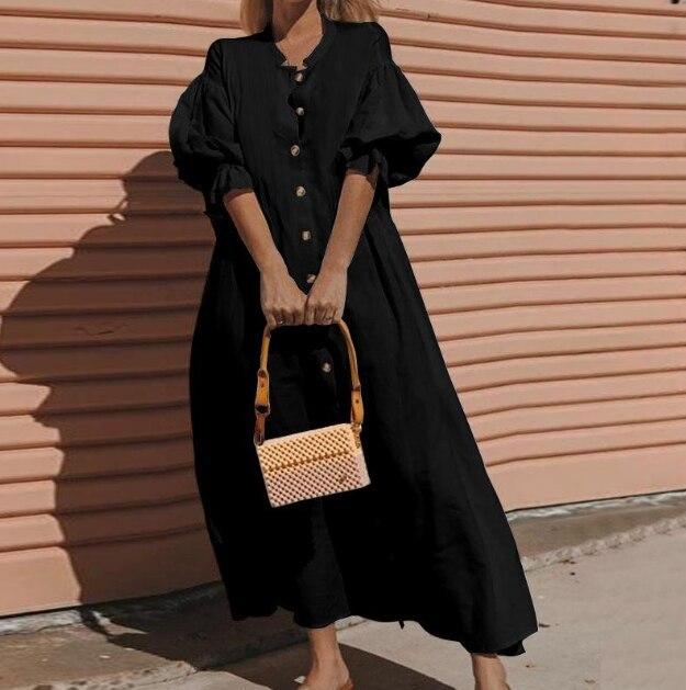 Women Summer Black Maxi Dress Plus Size 5XL Casual O Neck Lantern Short Sleeve Button Long Dress Ladies Loose Linen Dresses