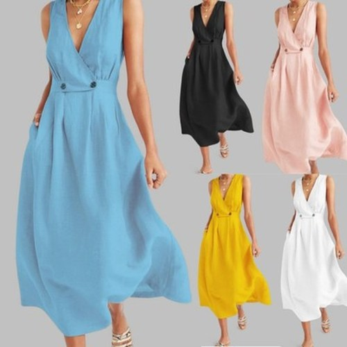 Plus Size Women Vintage Cotton Maxi Dress 2020 Summer New Sexy V Neck Sleeveless Long Dress White Button Loose Party Vestidos