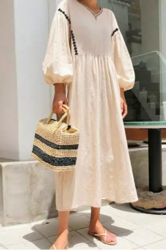 2021 summer new ladies bohemian long dress round retro lantern flower sleeve banquet long dress long dress holiday dress female