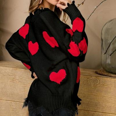 Women Loose Long Sleeve V Neck Knit Pullover Sweater Heart Patch Jumper Top