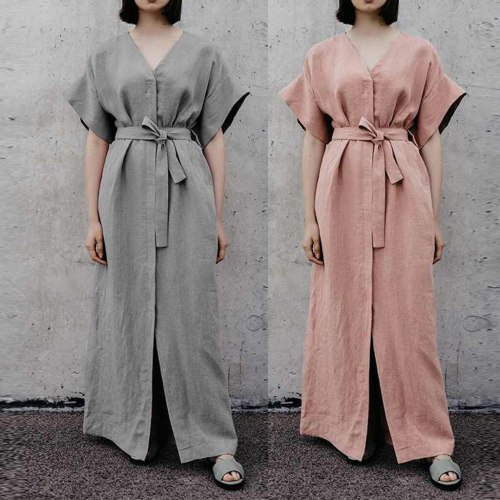 2019 Summer Sexy Women Casual Plus Size Tie Up V Neck Loose Linen Daily Split Long Dress vestidos vestido robe femme party