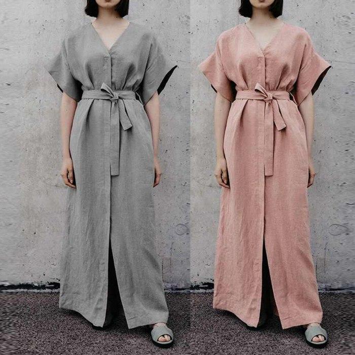 2019 Summer Sexy Women Casual Plus Size Tie Up V Neck Loose Linen Daily Split Long Dress vestidos vestido robe femme party
