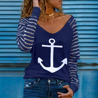 New Cold Shoulder Long Sleeve Casual Blouse 2021 Spring Letter Heart Printed Shirt Autumn Zip V-neck Stripe Patchwork Women Tops