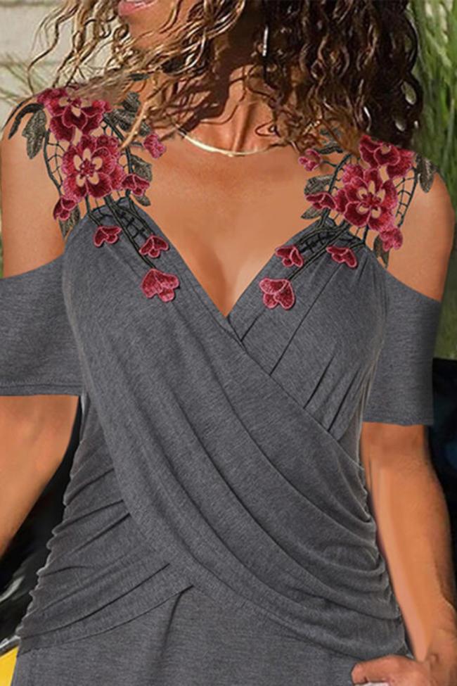 Rose Embroidery Off Shoulder Lady Shirt Summer Short Sleeve Women Blouse Elegant Cross Patchwork Tops Blusa Mujer Streetwear 3XL