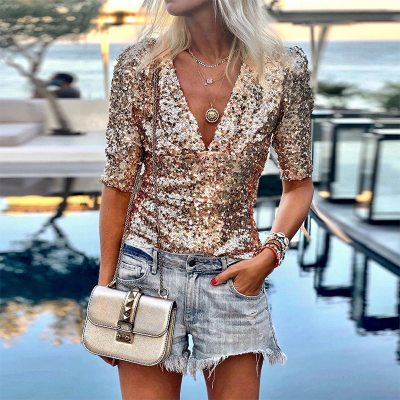 Women Half Sleeve Sequins T Shirt Summer Top Tees Femme Ladies Shirts Clothes Sexy V Neck Tops