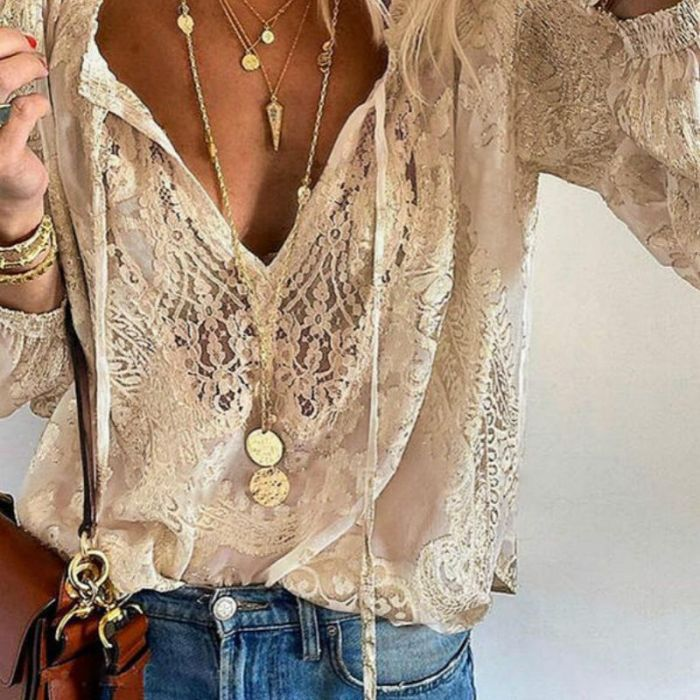 Fashion Women Patchwork Lace T Shirts Summer Hollow Long Sleeve Tops Spring Elegant  Lace  Crochet T Shirt